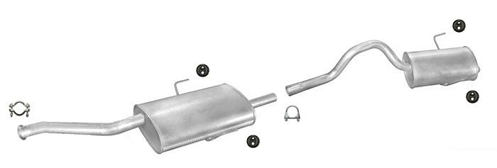 Mittelschalldämpfer Endschalldämpfer Auspuff  Audi 80 1.6 2.0 Montagesatz